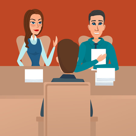 the applicant: Man having a job Interview with HR specialists and a boss. Vector creative color illustrations flat design in flat modern style.