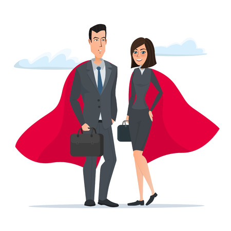 Man and woman business superheroes. Cartoon Super businessman stands . Business concept. Vector illustration isolated on white background in flat style. Illustration