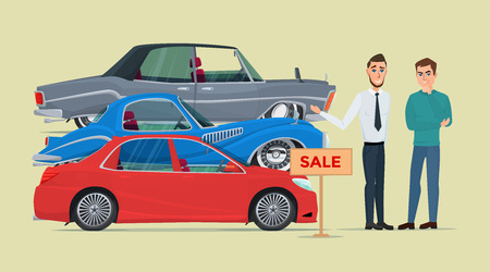 proposed: Buyer chooses a new car of the three proposed manager. Business cartoon concept. Vector creative color illustrations flat design in flat modern style.