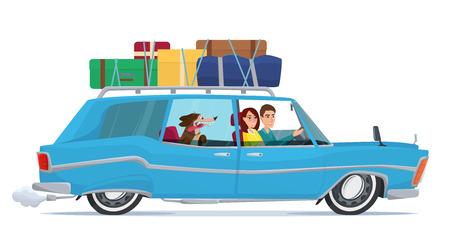 El hombre y la mujer de viaje en coche con su perro, el equipaje en la parte superior. de dibujos animados concepto de viaje. Ilustración del vector aislado en el fondo blanco en estilo plano.