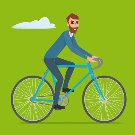 treadle: Bicyclist rider hipster man with bike bicycle Vector creative color illustrations flat design in flat modern style.