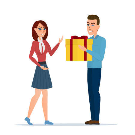 cartoon boy giving girl a gift box. Vector illustration isolated on white background in flat style. Illustration