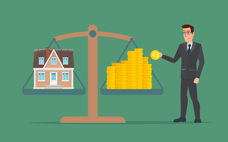 weighs: Businessman holding house on money, man collects money for a house and weighs in the balance. Business cartoon concept. Vector creative color illustrations flat design in flat modern style.