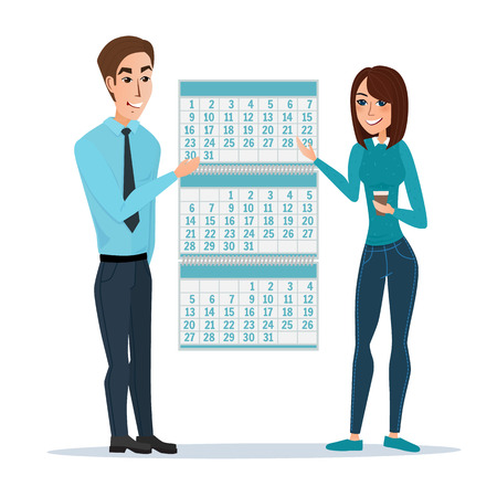 job deadline: man and woman show Deadline and calendar, time and time running out, timeline and due date, business deadline, work office job. Vector illustration isolated on white background in flat style. Illustration
