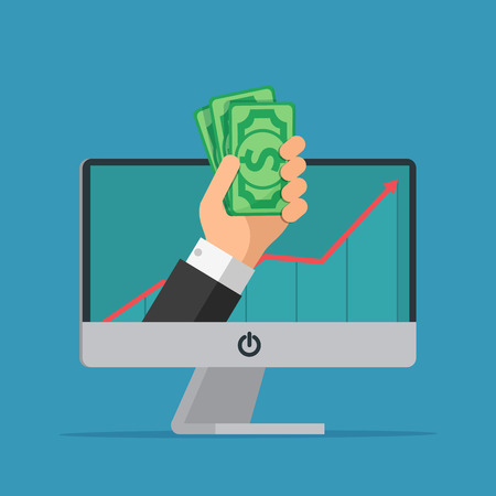 extra cash: Online earning. Hand with computer holds money. Business cartoon concept. Vector creative color illustrations flat design in flat modern style.