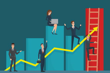 Illustration of team of businessman on arrow graph. Team leader has and leading his team to success. Business cartoon concept. Vector creative color illustrations flat design in flat modern style.