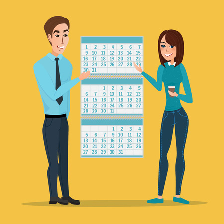 job deadline: man and woman show Deadline and calendar, time and time running out, timeline and due date, business deadline, work office job. Vector creative color illustrations flat design in flat modern style.