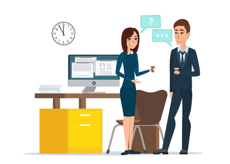 Girl and man businessmen talking office. Job Interview Task Conversation Desk Working Computer. Business cartoon concept. Vector illustration isolated on white background in flat style.  イラスト・ベクター素材