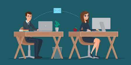 Man and woman at computer monitor. Office correspondence, employees to correspond by mail. Business concept. Vector creative color illustrations flat design in flat modern style. Illustration