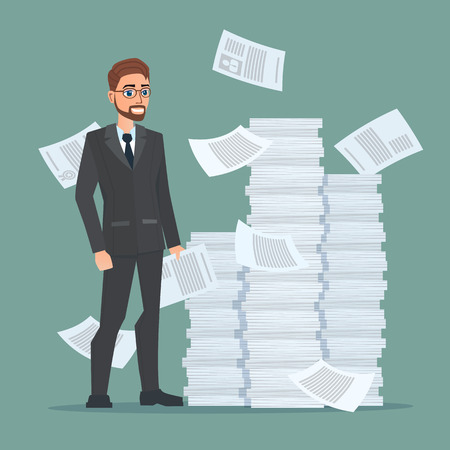 Papeleo y con exceso de trabajo, de un empleado involucrado en el trabajo con los documentos en el fondo grandes pilas de papeles. Concepto de negocio. Vector ilustraciones de color creativos diseño plano estilo moderno plana.