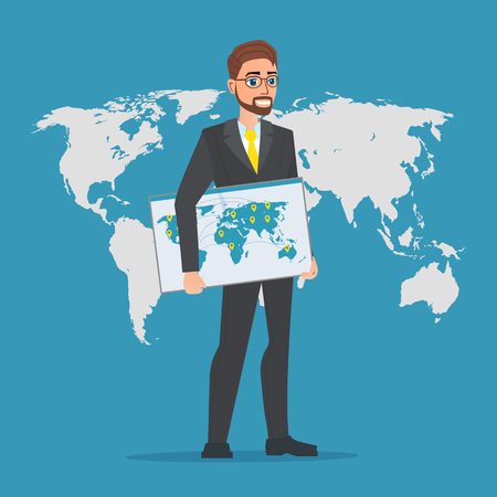 Businessman holding a map of the world. Business cartoon concept. Vector creative color illustrations flat design in flat modern style.