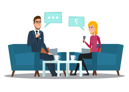 Interview with movie star. Interviews with politicians. Vector Illustration isolated on white background in flat style cartoon Live interview