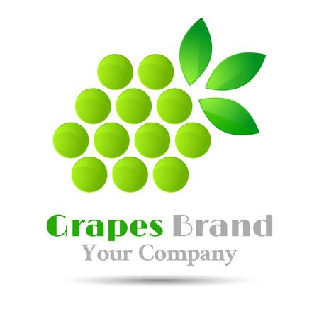 winemaking: Grapes winemaking mark, bunch grapes green leaf design element wine emblem