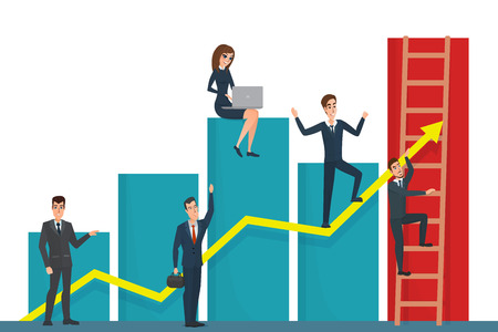 team effort: Illustration of team of businessman on arrow graph. Team leader has and leading his team to success. Business cartoon concept. Vector illustration isolated on white background in flat style.