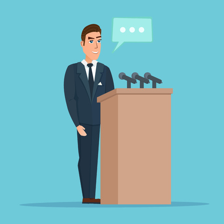 Speaker makes a report to the public. Orator stands behind a podium with microphones. Presentation performance before audience. Vector creative color illustrations flat design in flat modern style. Иллюстрация