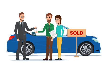 Man, woman and car dealer. Business cartoon concept. Vector illustration isolated on white background in flat style.