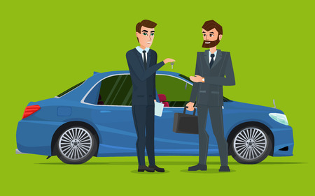A Car sale handed to other man. A Contemporary style with pastel palette. Vector creative color illustrations flat design in flat modern style. Illustration