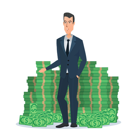 Happy young businessman standing near a huge pile of green dollar money. Business concept cartoon. Illustration isolated on white background in flat style Illustration