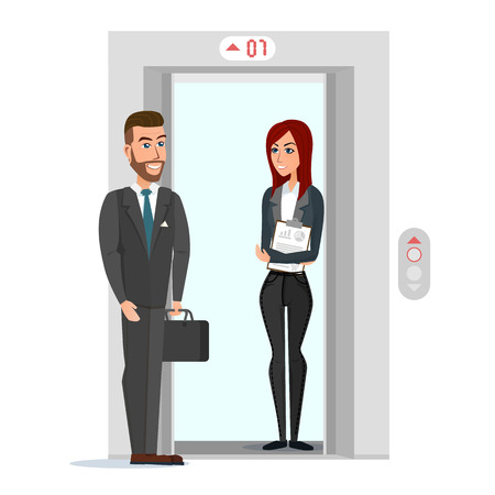 stage door: Business people in office building elevator. Vector illustration isolated on white background in flat style. Illustration