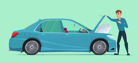 scraps: Man having Car Trouble. Car breaks down. vehicle recovery concept. Vector creative color illustrations flat design in flat modern style.