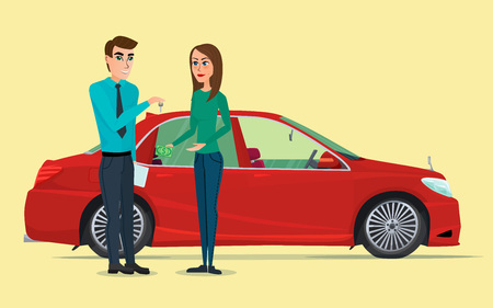showroom: Car Showroom. Manager sells and woman buying a new car. Vector creative color illustrations flat design in flat modern style. Illustration