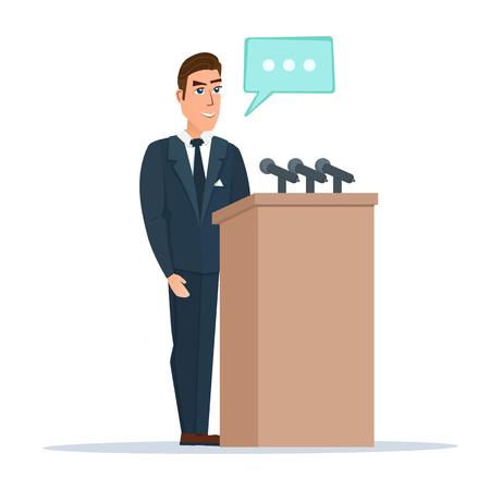 oratory: Hablante hace un informe al público. El orador se coloca detrás de un podio con micrófonos. Presentación y actuación ante un público. Ilustración del vector aislado en el fondo blanco en estilo plano.