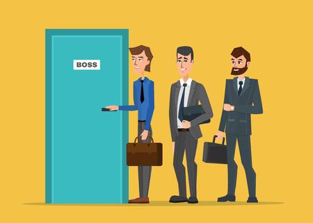 Des gens d'affaires alignés devant la porte du patron. Concept de bande dessinée d'affaires. Design plat d'illustrations couleur créative vecteur dans un style plat moderne. Vecteurs