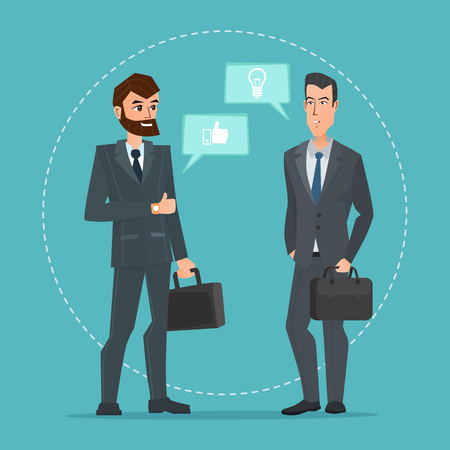 Two businessmen standing, talking, discussing negotiating. Business cartoon concept. Vector creative color illustrations flat design in flat modern style.