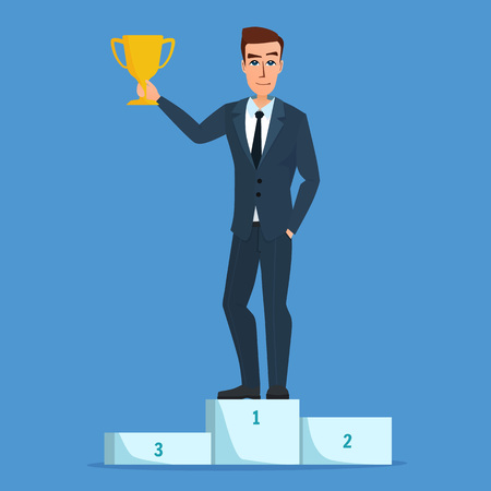 recompense: Success businessman character standing in a podium holding up a trophy as he celebrates his victory. Vector creative color illustrations flat design in flat modern style. Illustration