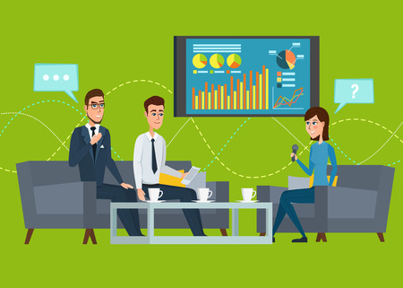 Business professional work. Press conference, interview concept, live report, vector microphones, giving interview news. Vector creative illustrations flat design. Worker people Man and Women. Vectores