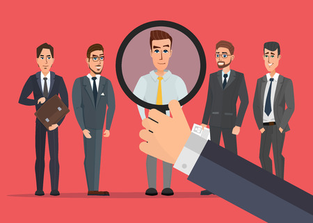 Recruitment Hand Zoom Magnifying Glass Picking. Business Person Candidate. People Group Vector creative color illustrations flat design in flat modern style.