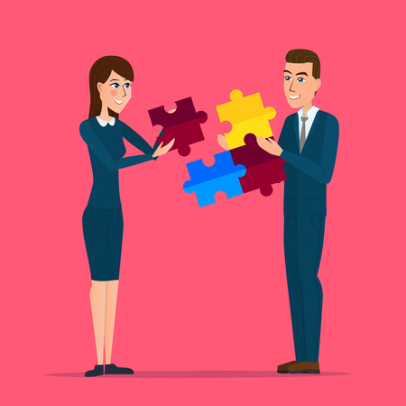 business man and business woman holding puzzle block. Business cartoon concept. Vector creative color illustrations flat design in flat modern style. Illustration