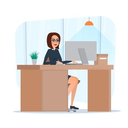 Zakenvrouw dame ondernemer in een pak werken op een laptop computer bureau. Beeldverhaal concept. Vector illustratie op een witte achtergrond in vlakke stijl. Vector Illustratie