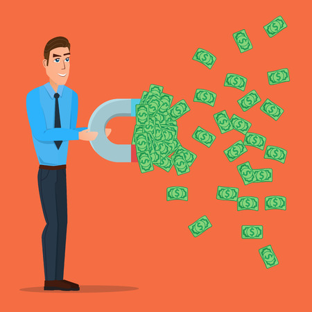 Male businessman getting money with a large magnet concept. Vector creative color illustrations flat design in flat modern style. Illustration