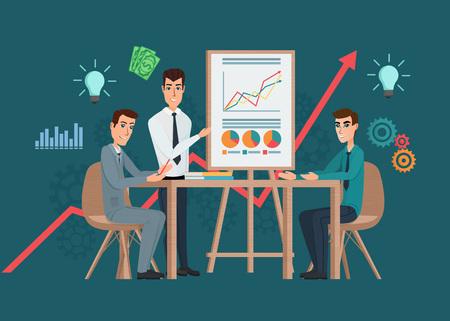 reunion de trabajo: Profesional de negocios reunión del equipo de trabajo. Presentación del proyecto. El hombre habla delante de sus colegas. lugar de trabajo trabajo en equipo. Vector ilustraciones creativas diseño plano de pueblo trabajador hombre.