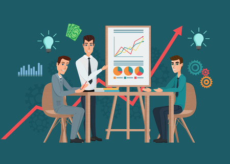 Business professional work team meeting. Presentation of the project. Man speaks before his colleagues. Teamwork workplace. Vector creative illustrations flat design worker people Man.