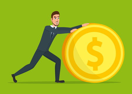reserve: Time investmen concept, finance and money, investor and stock market, business man invest gold, old gold money, banking treasure, roll dollar invest illustration. Time for invest, man with gold coin.