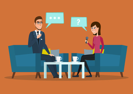 Interview with movie star. Interviews with politicians. Vector creative color illustrations flat design in flat modern style. cartoon Live interview Vectores