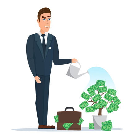 Businessman watering a money tree. Vector illustration isolated on white background in flat style. Illustration
