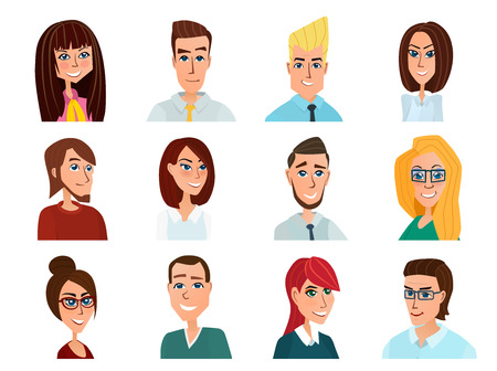 african teacher: Business people flat avatars. Men and women business and casual clothes icons. Vector illustration isolated on white background in flat style.