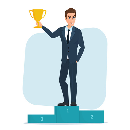 victor: Vector Illustration Success businessman character standing in a podium holding up a trophy as he celebrates his victory vector illustration. Isolated on white background in flat style Illustration
