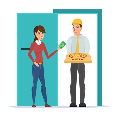 Pizza delivery boy handing pizza box to a beautiful girl at her home. Vector illustration isolated on white background in flat style. Woman giving money for her order. Illustration