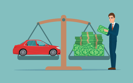 Man collects money for a car and weighs in the balance. Business cartoon concept. Vector creative color illustrations flat design in flat modern style.