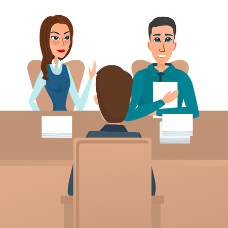 Man having a job Interview with HR specialists and a boss. Vector illustration isolated on white background in flat style. Illustration