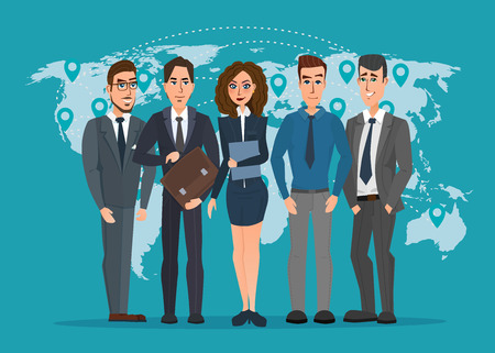 transnational: Leader and a team. Group of men and women politicians. leadership or global business concept. transnational corporate structure. Vector creative color illustrations flat design in flat modern style.