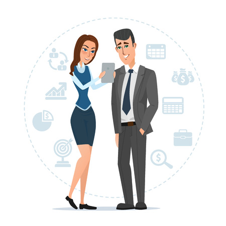 Woman and man with tablets. Business cartoon concept. Vector illustration isolated on white background in flat style. Illustration