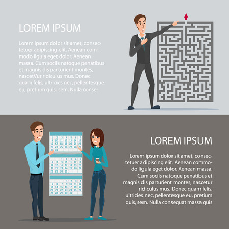 tenure: Out of the difficult task of tenure of deadline. Cartoon poster vector illustration. Banners for your web design in business style. Template for your text. Business characters set.