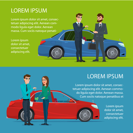 Car Showroom. Manager sells man and woman buying a new car. Cartoon poster vector illustration. Banners for your web design in business style. Template for your text. Business characters set.
