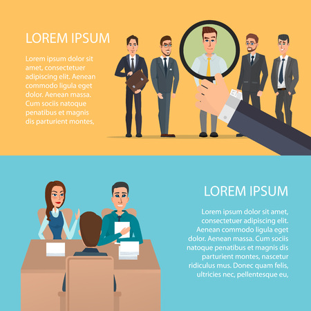 selection of business staff. Cartoon poster vector illustration. Banners for your web design in business style. Template for your text. Business characters set.