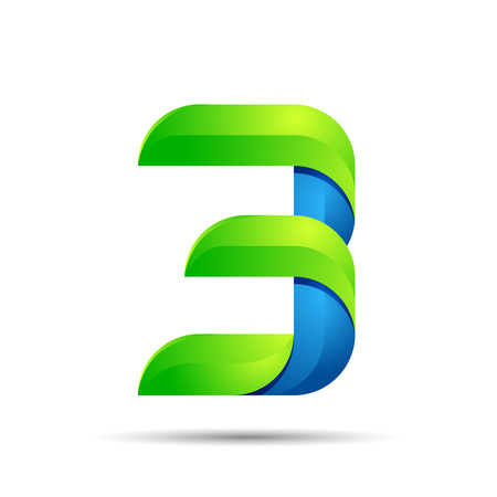 vector 3d Number three 3 logo with speed green leaves. Ecology design for banner, presentation, web page, card, labels or posters. Illustration